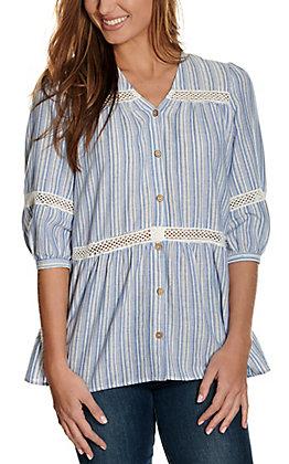 Newbury Kustom Women's Blue & White Stripes with Lace 3/4 Sleeve Fashion Top