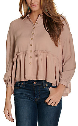 Newbury Kustom Women's Mauve Button Down Peplum 3/4 Sleeve Fashion Top