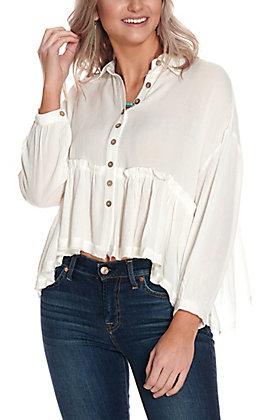 Newbury Kustom Women's Cream Button Down Peplum 3/4 Sleeve Fashion Top