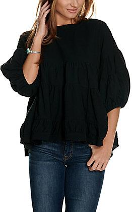 Newbury Kustom Women's Black Tiered 3/4 Balloon Sleeves Fashion Top