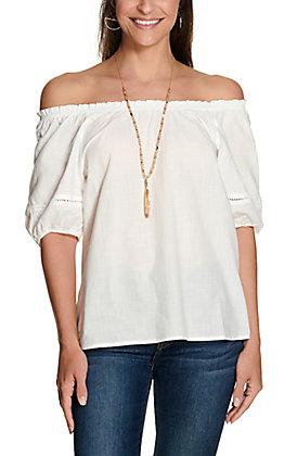 Newbury Kustom Women's White with Short Puff Sleeves Fashion Top