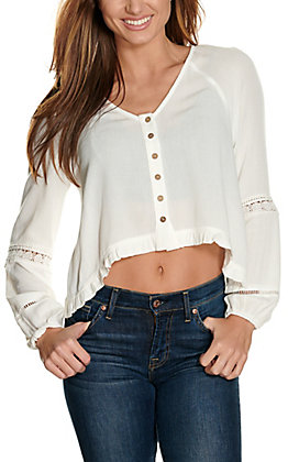 Newbury Kustom Women's Ivory with Ruffles & Lace Button-Down Long Sleeve Cropped Fashion Top