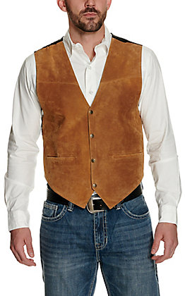 Scully Mens Tan Suede Vest with Satin Back