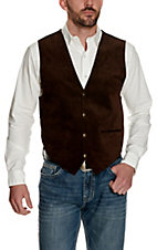 Scully Mens Brown Suede Vest with Satin Back