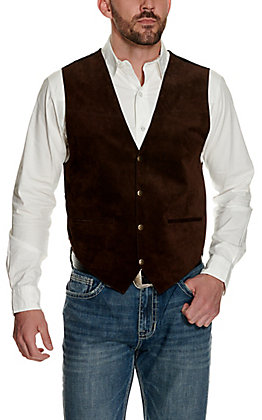 Scully Men's Brown Suede Vest with Satin Back