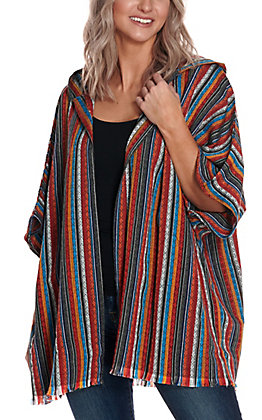 Newbury Kustom Women's Serape Hooded Short Sleeve Kimono