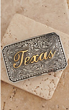 AndWest Antiqued Silver Scrolling with Gold Texas Rectangle Belt Buckle