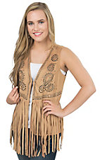 Origami Women's Tan Faux Suede Studded Fringe Vest