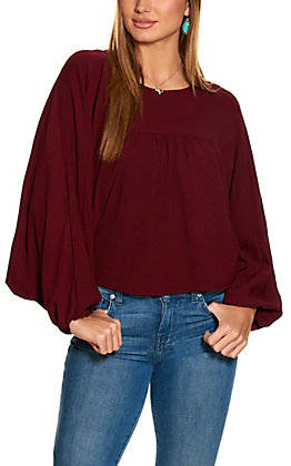 Newbury Kustom Women's Burgundy Balloon Sleeve Fashion Top