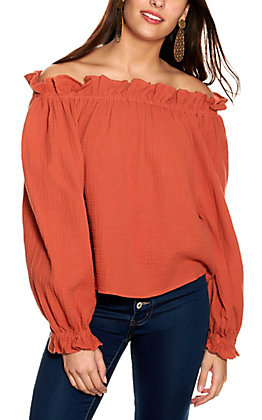 Newbury Kustom Women's Rust Off-Shoulder Top