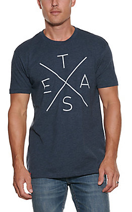 Tumbleweed Texstyles Men's Midnight Navy with Texas X Screen Print Short Sleeve T-Shirt