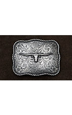 AndWest Antiqued Silver Scrolling with Longhorn Belt Buckle