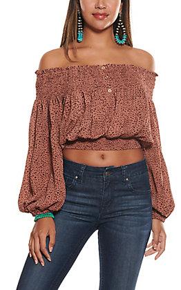 Newbury Kustom Women's Rust Cheetah Print Off Shoulder Fashion Top