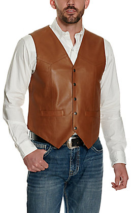 Scully Men's Dark Cognac Smooth Lamb Vest