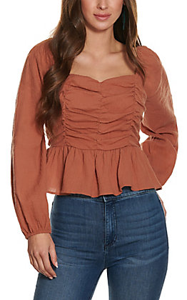Newbury Kustom Women's Rust Scrunch Front Fashion Top