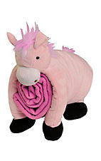 M&F Western Products Pink Pillow/Blanket Plush Horse