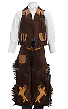 M&F Products Brown & Faux Tan Suede Vest & Chaps Set