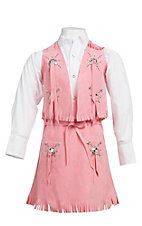 M&F Products Pink Faux Suede Vest & Skirt Set