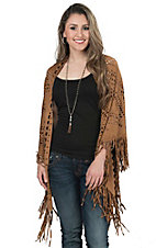 Origami Women's Camel Faux Suede with Laser Cut Out Shawl