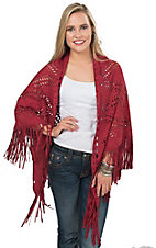 Origami Women's Red Faux Suede with Laser Cut Out Shawl