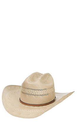 Resistol 50X  Open Range Two Tone Natural and Tan Vented Cattleman Crown Straw Hat