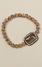 Ashlyn Rose Single Strand Brown Stone Bracelet