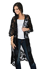 Origami by Vivian Women's Black Crochet Long Kimono
