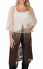 Origami Women's Cream and Brown Dip Dye Lace Duster Kimono