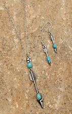 Silver Necklace with Arrow Pendant Jewelry Set