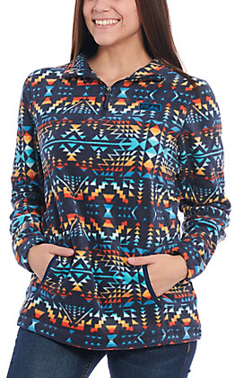 Powder River Outfitters by Panhandle Women's Navy Aztec Fleece Quarter Zip Pullover Jacket