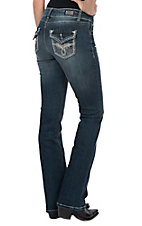 Wired Heart Women's Loop Stitch Flap Pocket Boot Cut Jeans