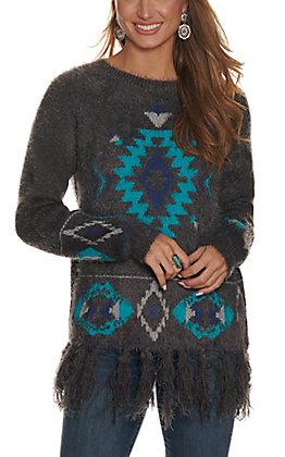 Powder River Women's Grey with Turquoise Aztec and Fringe Long Sleeve Eyelash Sweater