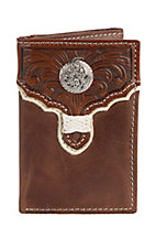 Tony Lama Tan w/ Cognac Floral Tooled Overlay Tri-fold Wallet 5174608