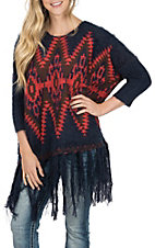 Powder River by Panhandle Women's Aztec and Fringe Pullover