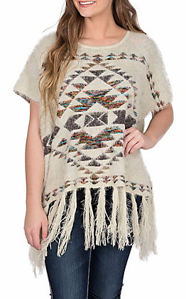 Powder River by Panhandle Women's Cream Fuzzy Aztec Fringe Poncho Fashion Top