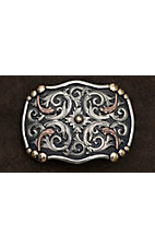 AndWest Vintage Collection  Antiqued Silver & Copper Scroll with Gold Beads Buckle