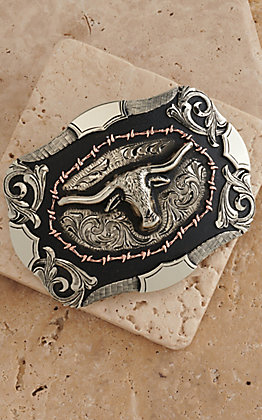 AndWest Vintage Collection  Antiqued Silver with Steerhead & Antiqued Copper Barbwire Buckle