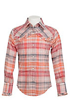 09 Apparel Girl's Pink & Orange Plaid with Ruffle Yokes Long Sleeve Western Shirt