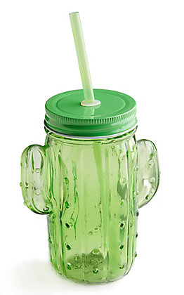 Two's Company Green Cactus Mason Jar with Lid and Straw