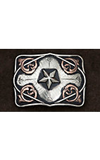 AndWest Vintage Collection  Antiqued Silver with Star Center & Copper Scrolls Buckle