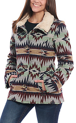 Powder River Outfitters by Panhandle Women's Multi Aztec Print with Faux Fur Collar Jacket