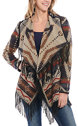 Powder River Outfitters by Panhandle Women's Brown Aztec Fringe Jacket