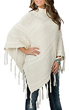 Powder River Outfitters by Panhandle Women's Cream Fringed Poncho