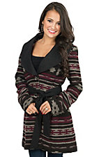 Powder River Women's Burgundy Jessamine Aztec Pattern Wool Single Breasted Coat