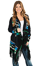 Powder River Women's Black Multicolor Aztec with Fringe Tassels Sweater Cardigan