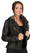 Rock & Roll Cowgirl Women's Black Pleather Moto Jacket with Knit Hood