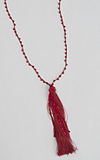 Grace and Emma Red Tassel Necklace