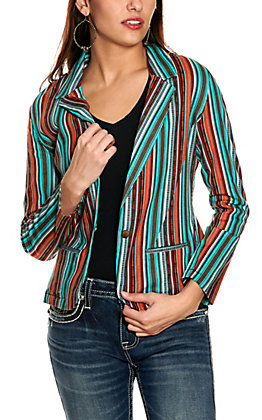 Rock & Roll Cowgirl Women's Turquoise and Orange Striped Long Sleeve Blazer Jacket