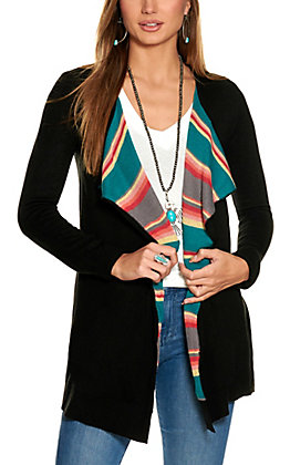 Powder River Women's Black with Multi Stripes and Headdress Long Sleeve Cardigan