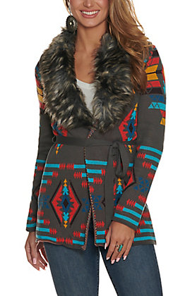 Panhandle Powder River Outfitters Women's Grey Aztec Print with Removable Fur Collar Cardigan